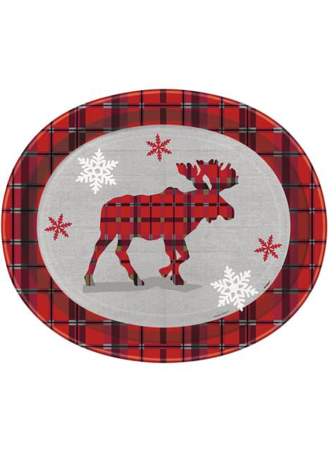 8 assiettes ovales renne de noël et cadres rustiques - Rustic Plaid Christmas