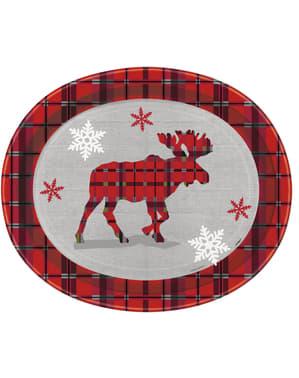 Sada 8 talířů oválných s Vánočním sobem a rustikální kostkou - Rustic Plaid Christmas