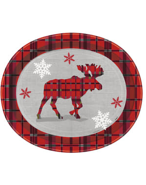 8 oval plates with Christmas reindeer and rustic plaid - Rustic Plaid Christmas