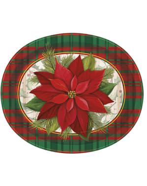 8 platos ovalados con flor de pascua y cuadros escoceses (31x25 cm) - Poinsettia Plaid