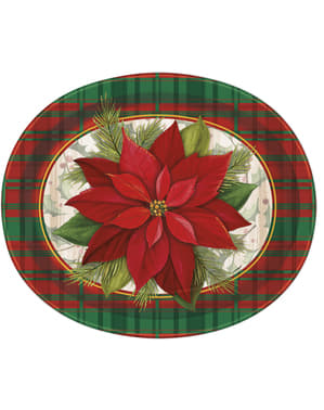 8 oval plates with poinsettia and Scottish plai (31x25 cm) - Poinsettia Plaid
