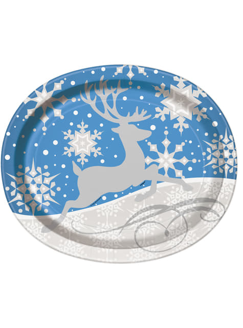 Set of 8 blue oval plates with silver reindeer - Silver Snowflake Christmas