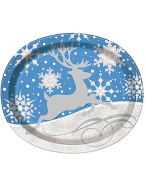 Sett med 8 blå oval tallerken med sølv reinsdyr - Sølv Snøflak Jul