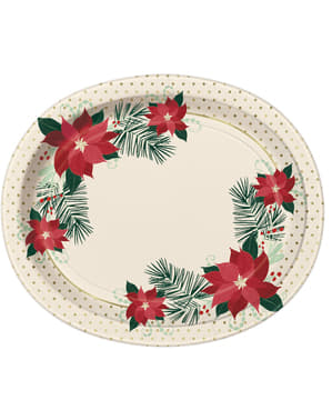 8 oval plates with poinsettia (31x25 cm) - Red & Gold Poinsettia