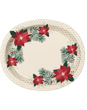 Sæt af 8 ovale tallerkner med julestjerner - Red & Gold Poinsettia