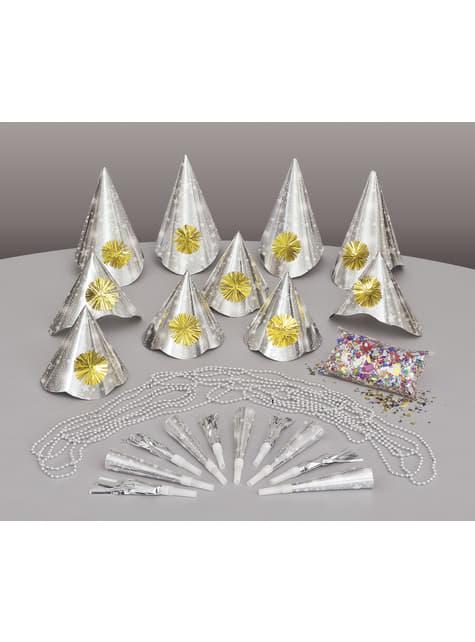 Kit de cotillón para 10 personas - Happy New Year Silver