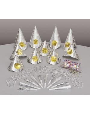 Kit di cotillon per feste per 10 persone - Happy New Year Silver
