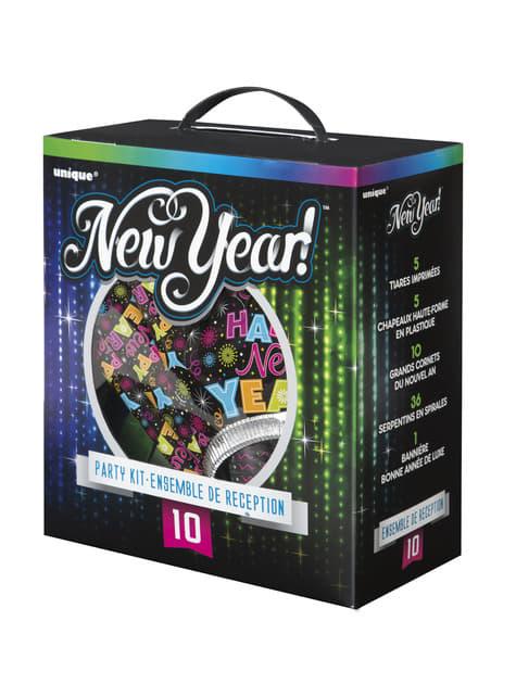 Kit de cotillón para 10 personas - Happy New Year - para tus fiestas