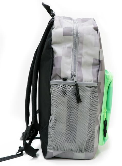Szary plecak z Minecrafta z przednią kieszenią z wizerunkiem Creepera