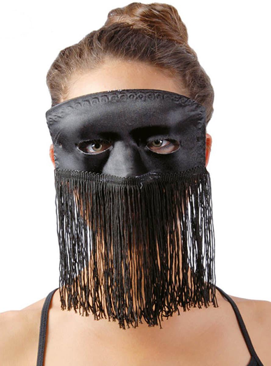 schwarze maske mit fransen f r kost m funidelia. Black Bedroom Furniture Sets. Home Design Ideas