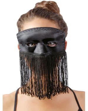 Schwarze Maske mit Fransen
