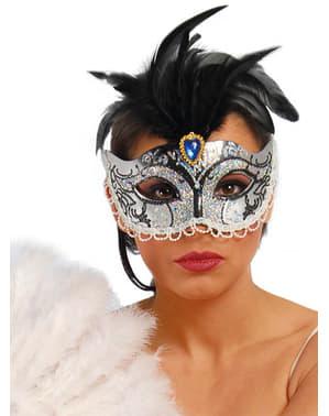 Benátská maska stříbrná