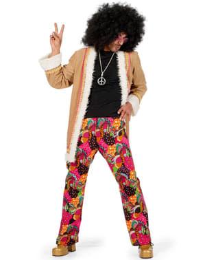 Maskeraddräkt hippie beige vuxen