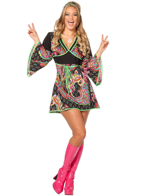 Disfraz de hippie neón para mujer