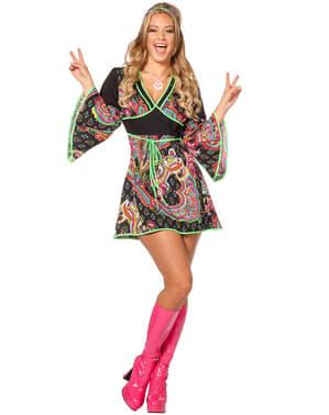 Neon hippie kostuum voor vrouw
