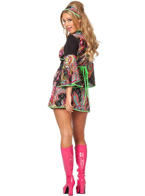 Disfraz de hippie neón para mujer - mujer