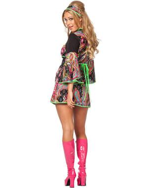 Hippie Kostüm neon für Damen