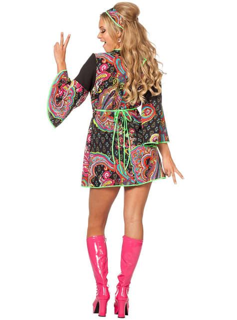 Disfraz de hippie neón para mujer - original