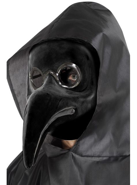 Black plague doctor mask for adults
