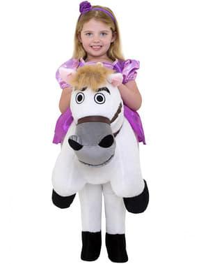 Disfraz a hombros de Rapunzel sobre el caballo Max