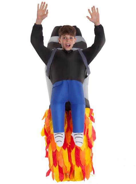 Opblaasbaar raket jetpack kostuum voor jongens
