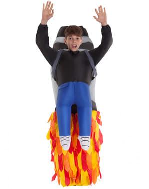 Disfarce de foguetão jetpack insuflável para criança