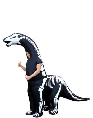 Opblaasbaar diplodocus skelet kostuum voor volwassenen
