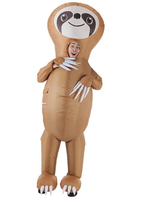 Opblaasbaar luiaard kostuum voor volwassenen