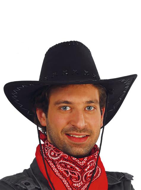 Kovbojský klobouk kožený černý