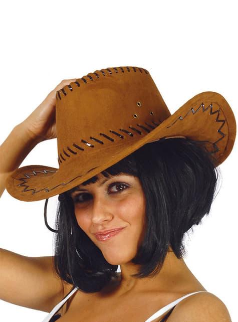 Cappello da cowboy marrone in pelle