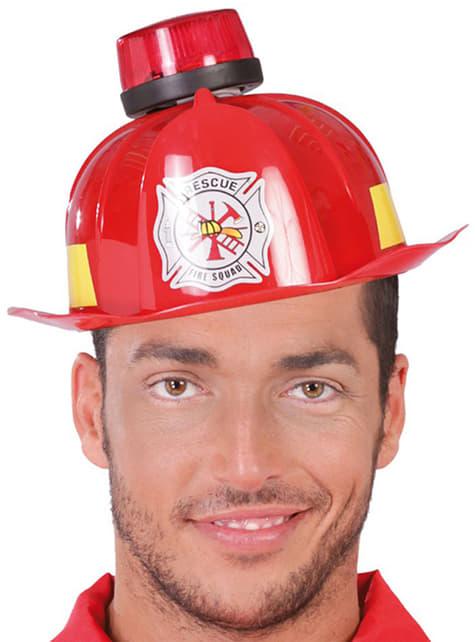 Capacete de bombeiro com sirene e luz