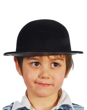 Chapéu-coco preto infantil