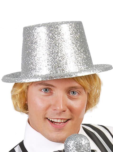 Sombrero chistera escarcha plata