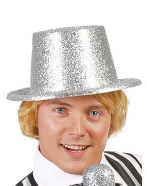 Høj hat med sølvglimmer