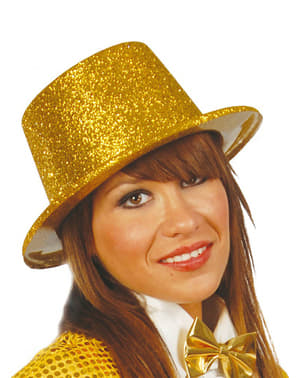 Chapeau haut-de-forme paillettes or