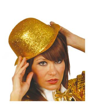 Sombrero bombín de escarcha oro