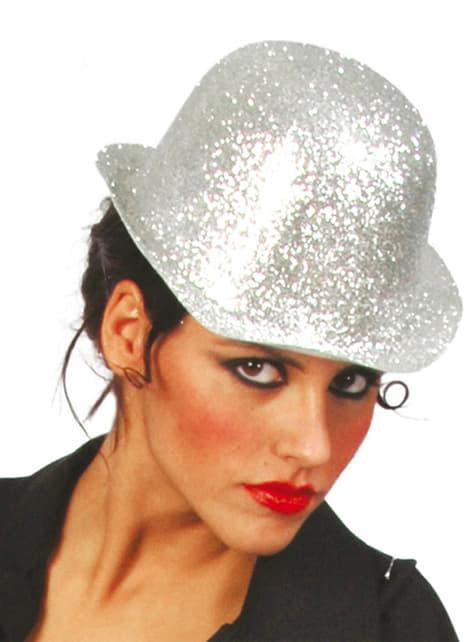 Sombrero bombín de escarcha plata