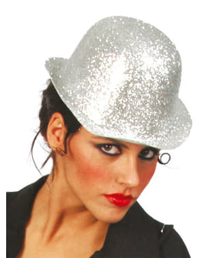 Frosted Silver Bowler Hat