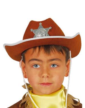 Brun sheriffhat til børn