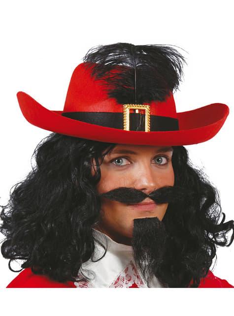 Mušketýrský klobouk červený