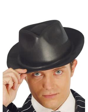 Lateksowy czarny kapelusz gangstera