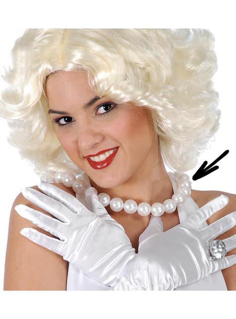 Halskæde med hvide perler