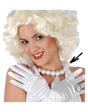 Collare con perle bianche