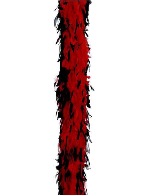 Fjäderboa i rött och svart