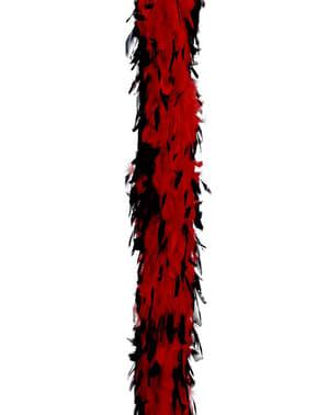 Boa de penas vermelhas e pretas