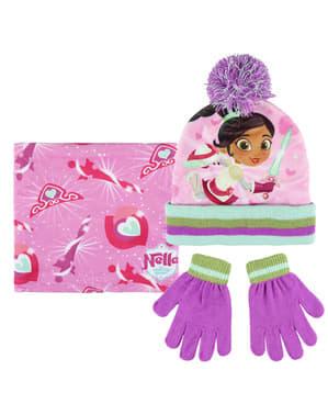 Nella The Princess Knight beanie hat, tørklæde og handske sæt til børn