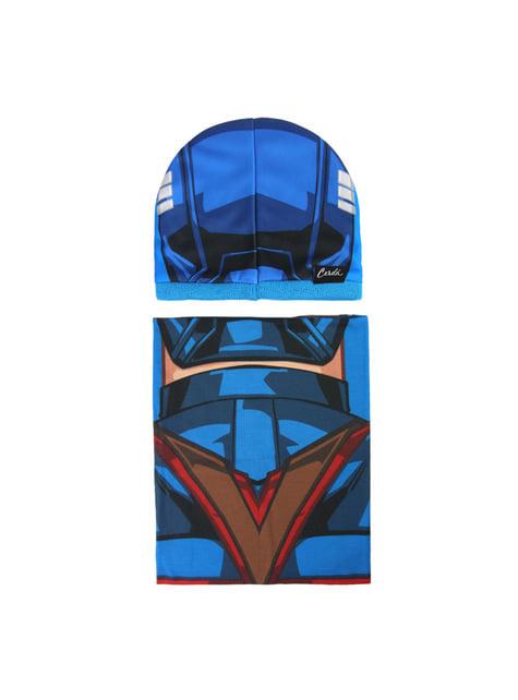 Conjunto de gorro e gola de pescoço infantil de Capitão América - Os Vingadores
