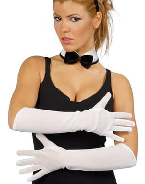 Lange hvide handsker