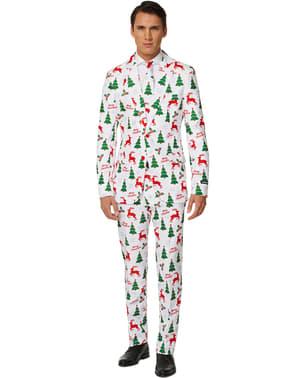 पुरुषों के लिए सूटमास्टर मेरी क्रिसमस व्हाइट सूट