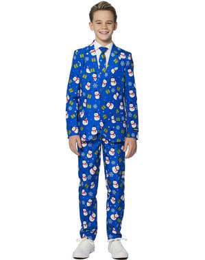 लड़कों के लिए सूटमास्टर क्रिसमस ब्लू स्नोमैन सूट